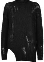 River Island Womens Black cable knit ladder cut out hem sweater