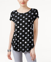 Alfani Petite Dot-Print Shirttail T-Shirt, Only at Macy's