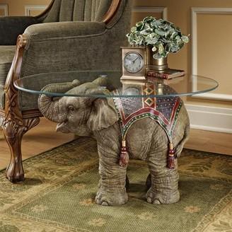 Toscano Design Jaipur Elephant Festival Glass-Topped Cocktail Table