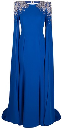 Jenny Packham Embellished-Shoulder Cape-Style Gown