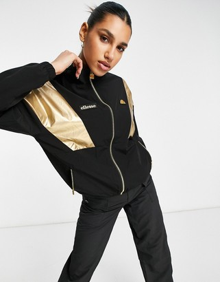 Ellesse track top in black and gold Exclusive to ASOS
