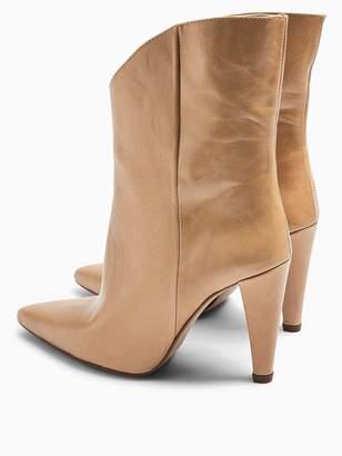 Topshop Havana Cone Heel Leather Calf Boots - Natural