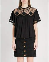 Free People Cape May lace-panelled ribbed linen and cotton-blend top