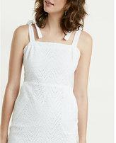 Express Tie Shoulder Eyelet Lace Sheath Dress