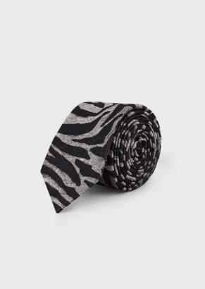 Emporio Armani Tie In A Silk/Wool Blend With Jacquard Zebra Motif