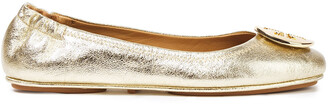 Tory Burch Minnie Travel Embellished Metallic Cracked-leather Ballet Flats