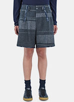 Kolor Men's Oversized Metallic Bar Stripe Shorts In Grey