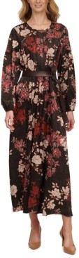 Calvin Klein Floral-Print Jacquard Belted Maxi Dress