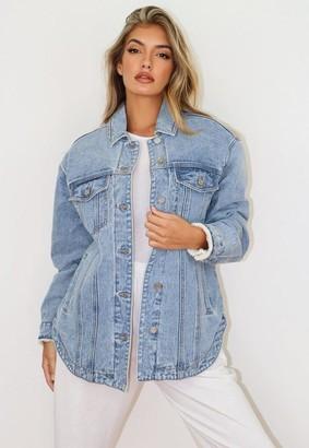 Missguided Blue Borg Lined Oversized Denim Jacket