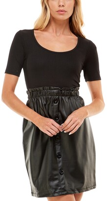 Ultra Flirt Juniors' Layered-Look Faux-Leather Fit & Flare Dress