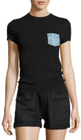 Helmut Lang Pocket Cotton Jersey Tee, Black