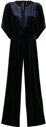 Norma Kamali Plunge Neck Velvet Jumpsuit