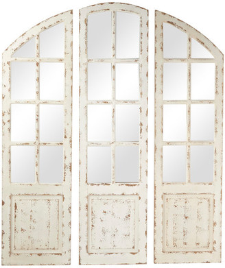Brimfield And May Large Distressed White Wood 3-Panel Arched Wall Mirror w/ Window Frame