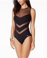 Vince Camuto Illusion Mesh Back-Zip One-Piece Swimsuit