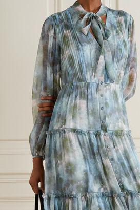 Jason Wu Collection Pussy-bow Tiered Floral-print Silk-chiffon Midi Dress - Blue