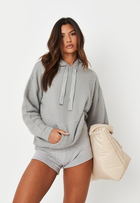 Missguided Grey Co Ord Fluffy Knitted Hoodie