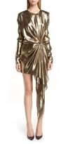 Saint Laurent Women's Asymmetrical Drape Lame Dress