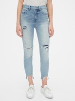 Gap High Rise Distressed True Skinny Ankle Jeans with Secret Smoothing Pockets