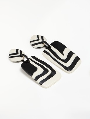 One Button Stripe Circle and Rectangle Drop Earrings, Black/White
