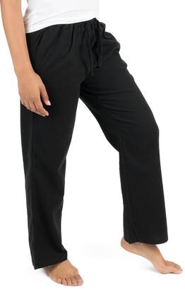 Leveret Women's Sleep Bottoms Black - Black Flannel Pajama Pants - Women