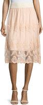 Design History Lace Scalloped-Hem Skirt, Sandpiper