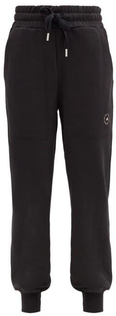 adidas by Stella McCartney High-rise Organic-cotton Jersey Track Pants - Black
