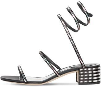 Rene Caovilla 40mm Snake Embellished Satin Sandals