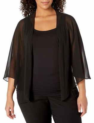 SL Fashions Women's Plus Size Solid Chiffon Cascade Crop Shrug