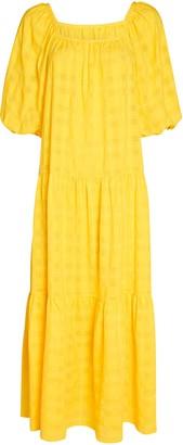 Solid & Striped Peasant Puff Sleeve Midi Dress