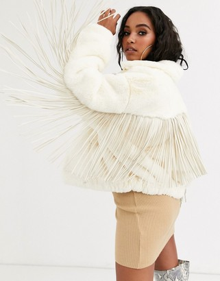 Sixth June oversized bomber jacket in faux fur with tassle back-White
