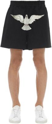 3.Paradis Dove Printed Pinstriped Shorts