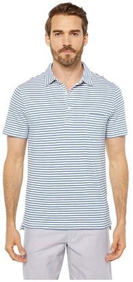 J.Crew Slub Jersey Whale Stripe Short Sleeve Pocket Polo (Ivory/Blue Whale Stripe) Men's Clothing