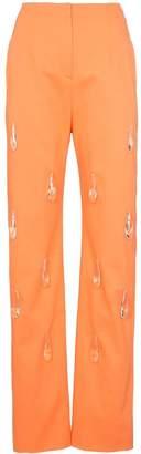Aleksandre Akhalkatsishvili Crystal drop high-waisted cotton trousers