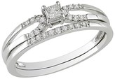 Diamond 10K White Gold Bridal Set Silver