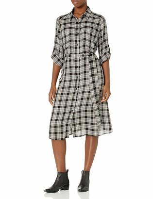 Max Studio Women's 3/4 Sleeve Midi-Length Plaid Shirt Dress