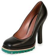 Marni Leather Tread-Sole Pump, Coal/Green