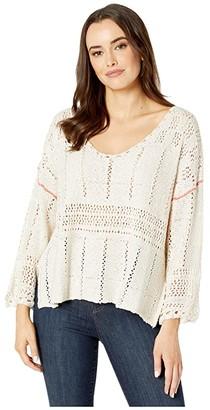 American Rose Melody V-Neck Crocheted Sweater (Sand/Orange) Women's Clothing
