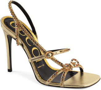 Gucci Carmen Crystal Bow Metallic Slingback Sandal