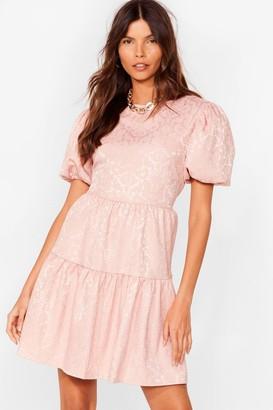 Nasty Gal Womens Workin' Jacquard Puff Sleeve Mini Dress - Pink - 4, Pink