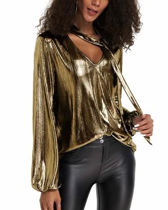 YOINS Women Long Sleeve V Neck Tops Sexy Metallic Blouses Casual Shirt Cut Out Lantern Sleeves Shirts Clubwear Party Gold Medium