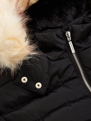 Very Girls Faux Fur Hooded Belted Shower ProofCoat -Black