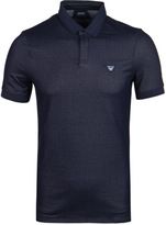 Armani Jeans Navy Denim Tonal Trim Short Sleeve Polo Shirt