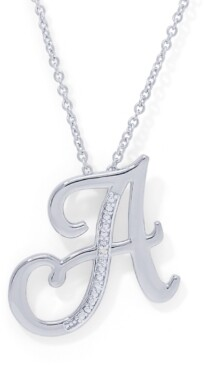 """Macy's Diamond Accent Initial Pendant Necklace 18"""" in Fine Silver Plate"""