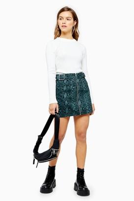 Topshop Womens Petite Teal Snake Buckle Skirt - Teal
