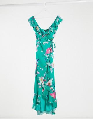Lipsy satin ruffle frill wrap maxi dress in green floral