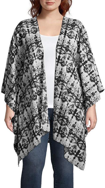 + + Long Sleeve Printed Kimono - Plus