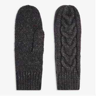 Joe Fresh Women's Cable Knit Mitts, Grey (Size O/S)