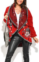 Everest Red Floral Open Coat
