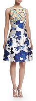 Oscar de la Renta Floral-Motif Mixed-Media Dress, Marine Blue