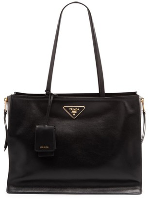 Prada Large Glace Side Zip Leather Shopper